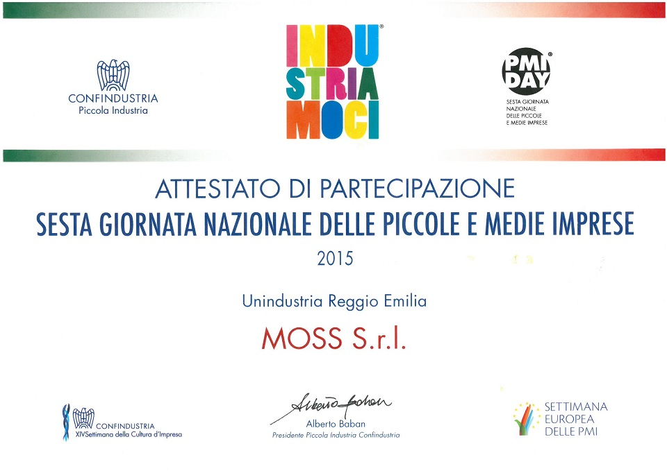 PMI DAY certificate received for the collaboration between MOSS and Unindustria Reggio Emilia